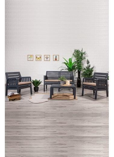 Sandalie Lara 2+1+1+S Balkon&Teras&Bahçe Mobilyası / Antrasit Antrasit